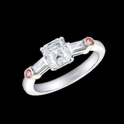 Trio Ring with Asscher Cut Diamond