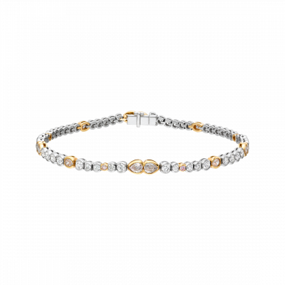 Petal Bracelet set with Natural Pink and White Diamonds