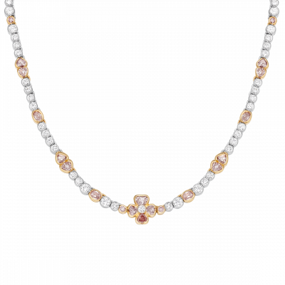 Petal Necklace set with Natural Pink and White Diamonds