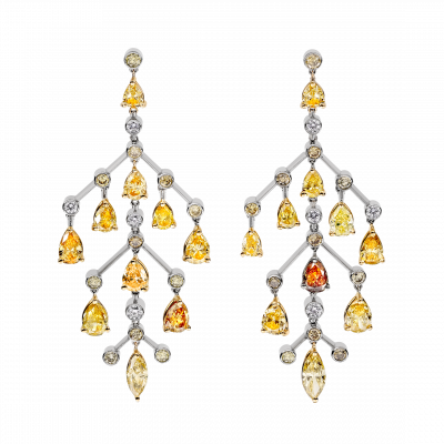 Autumn Leaves Natural Colour Diamond Chandelier Earrings