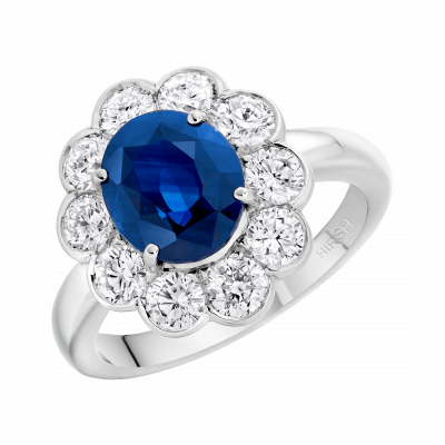 Oval Cut Blue Sapphire and Diamond Princess Ring