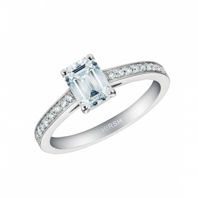 Reflection Ring with an Emerald Cut Diamond