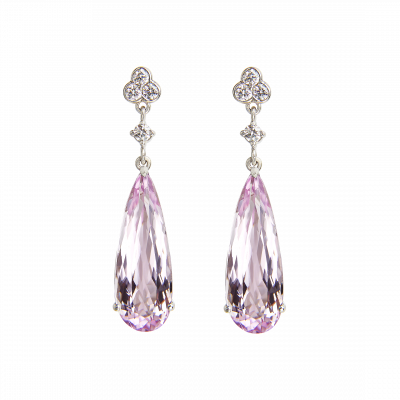 Chatsworth Earrings Kunzite and Diamond