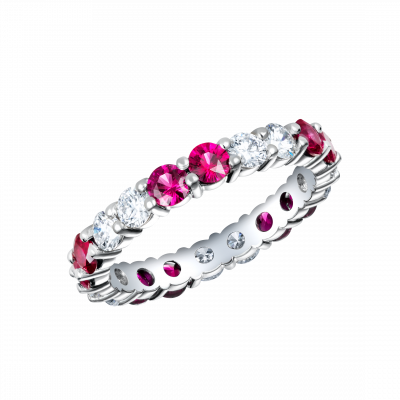 Eternity Ruby and Diamond Ring