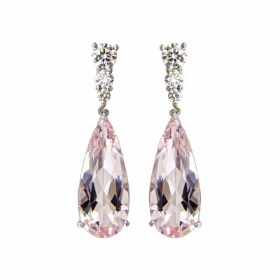 Morganite and Diamond Berkely Drop Earrings