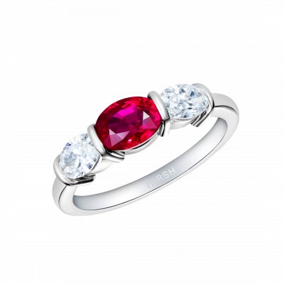 Synergy Ring with Oval Ruby and Diamonds