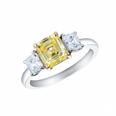 Trilogy Yellow and White Asscher cut Diamond Ring