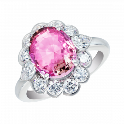 Oval Cut Padparadscha Sapphire Princess Ring
