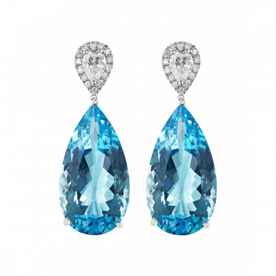 Aquamarine and White Diamond Burlington Earrings
