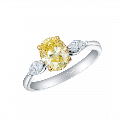 Trio Fancy Intense Yellow Diamond Ring