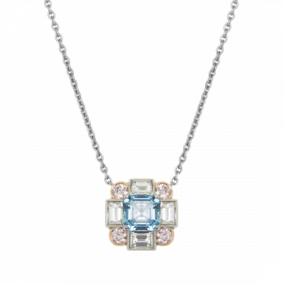 Ice Aquamarine, Diamond and Pink Diamond Pendant