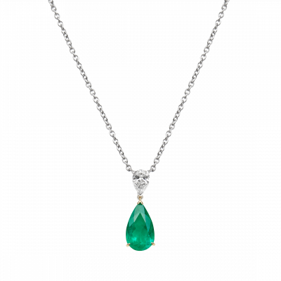 Wallace Pendant set with a pear shaped emerald