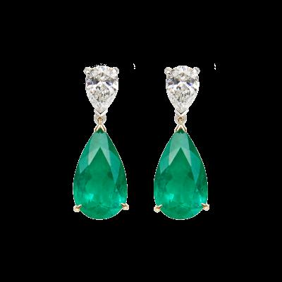 Emerald and Diamond Wallace Drop Earrings