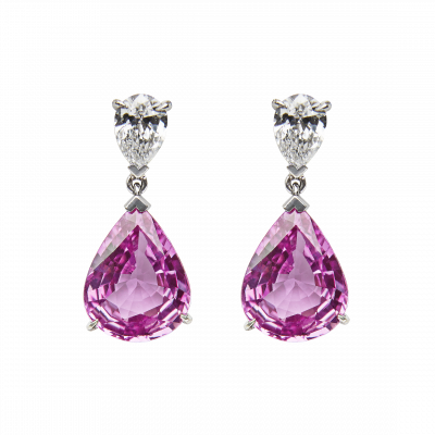 Pink Sapphire Pink Sapphire and Diamond Wallace Drop Earrings