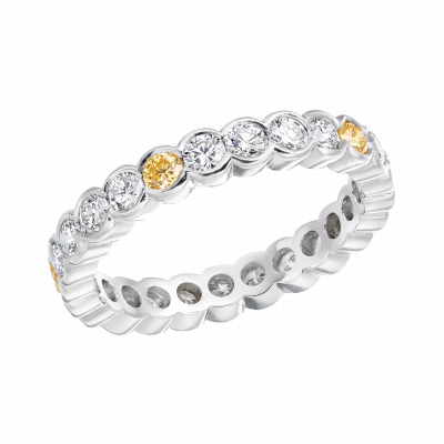 Brilliant Cut White and Yellow Diamond Rub Over Eternity Ring