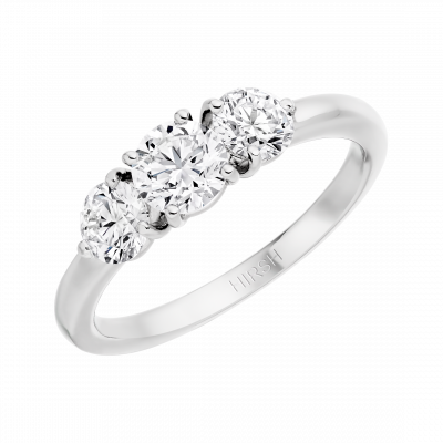 Trilogy ring set with round brilliant cut diamonds