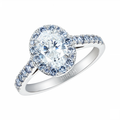 Oval Cut Blue and White Diamond Regal Ring