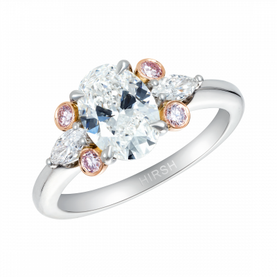 1.51 Carat Oval Cut White and Pink Diamond Papillon Ring