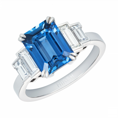 Emerald Cut Kanchanaburi Sapphire and Diamond Artemis Ring