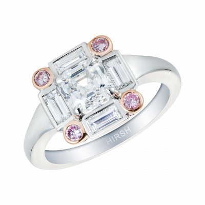 Asscher Cut Diamond Ice Ring with Pink Diamonds