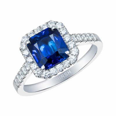 Cushion Cut Blue Sapphire and Diamond Regal Ring