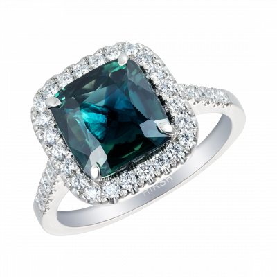 Cushion Cut Green Sapphire and Diamond Regal Ring