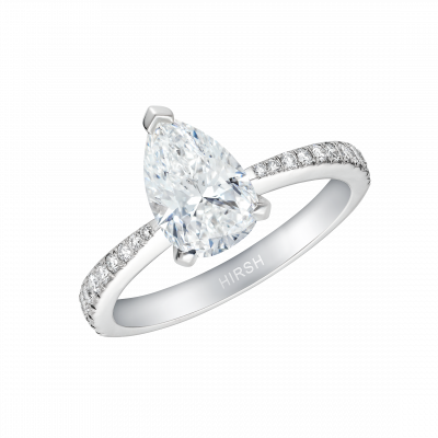 Reflection Ring with Pear Shape Diamond