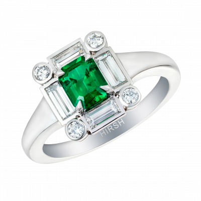 Ice Ring set with emerald and diamonds
