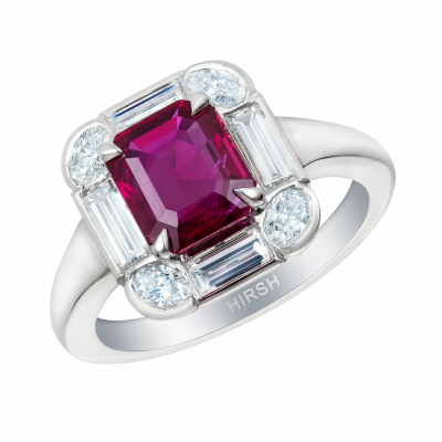 Ice Ring with Ruby and Diamonds