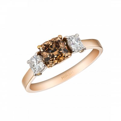 Trilogy Ring with Cognac Diamond