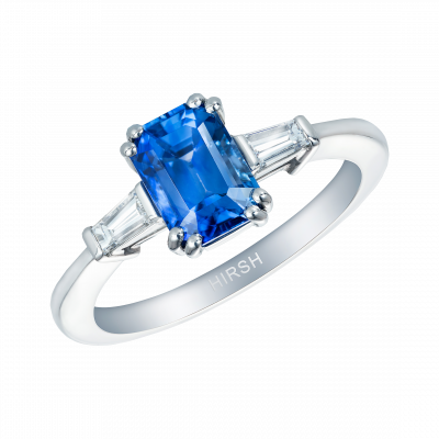 Emerald Cut Blue Sapphire and Diamond Trio Ring