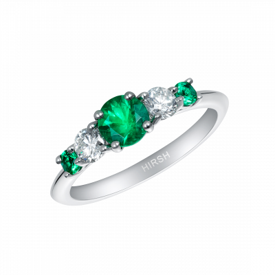 Cinq Emerald and Diamond Ring