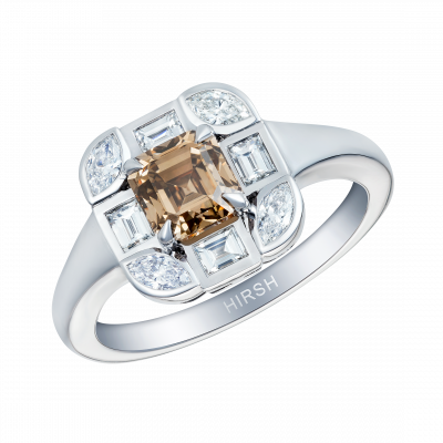Cognac and White Diamond Ice Ring