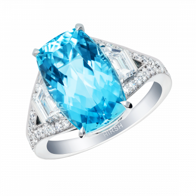 Cushion Cut Aquamarine Majestic Ring