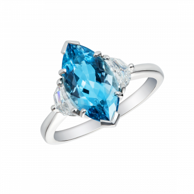 A Trio ring set with aquamarine and diamonds