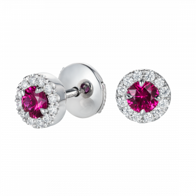 Regal Earrings set with Ruby and diamond