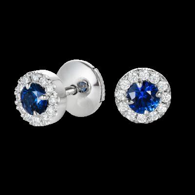 Regal Sapphire and Diamond Earrings