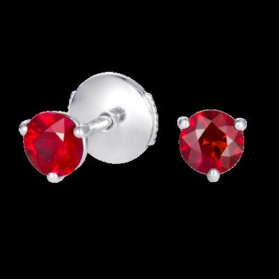 Solitaire Ruby Stud Earrings