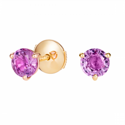 Solitaire Pink Sapphire Stud Earrings