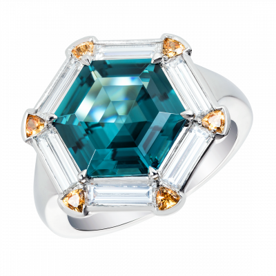 Keystone Tourmaline, Garnet and Diamond Ring