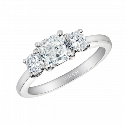 Trilogy Cushion Cut Diamond Ring