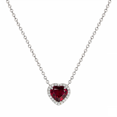 Regal Heart Shape Tourmaline and Diamond Pendant