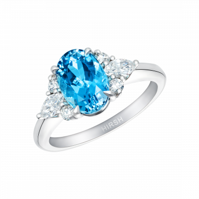Aquamarine and Diamond Papillon Ring