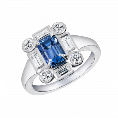 Ice Sapphire and Diamond Ring