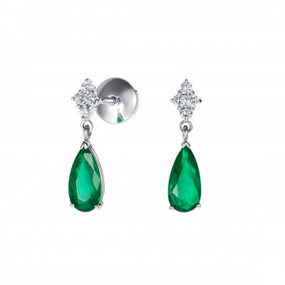 Connaught Emerald and Diamond Earrings