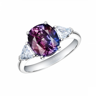 Trio Colour Change Sapphire and Diamond Ring