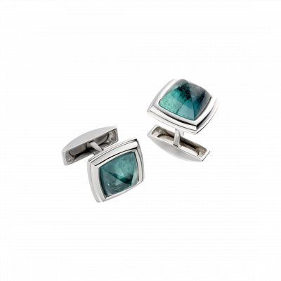 Unique-Link Indicolite Tourmaline Cufflinks