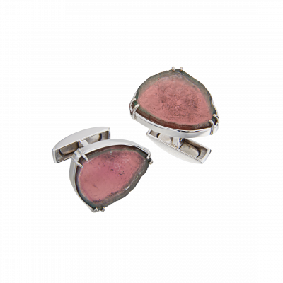 Unique-Links Watermelon Tourmaline Cufflinks