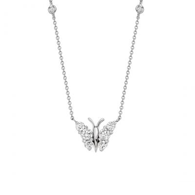 Flutter Diamond Pendant in White Gold