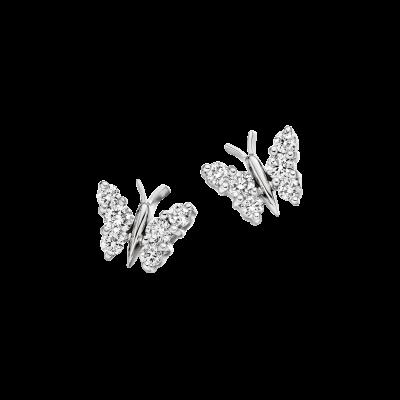 Large White Gold Flutter Earrings
